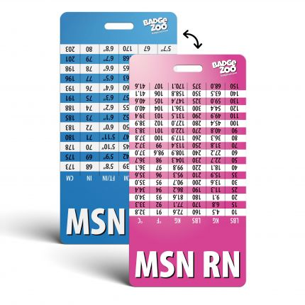 MSN RN Badge Buddy pink-blue Vertical Heavy Duty with Conversion Table Identification Card - by BadgeZoo