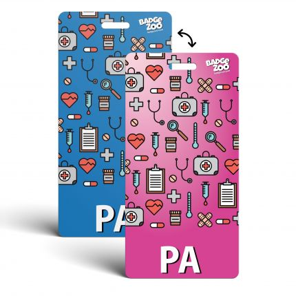PA Badge Buddy blue-pink Vertical Heavy Duty with Medical themed Icons Identification Card - by BadgeZoo