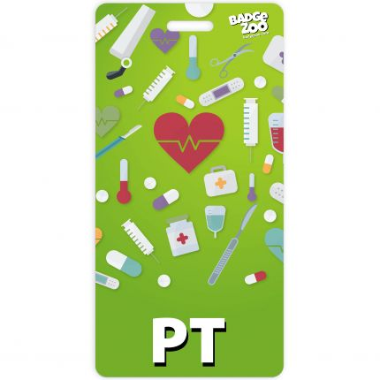 PT Badge Buddy Light Green Vertical Heavy Duty with Medical themed Icons Identification Card - by BadgeZoo
