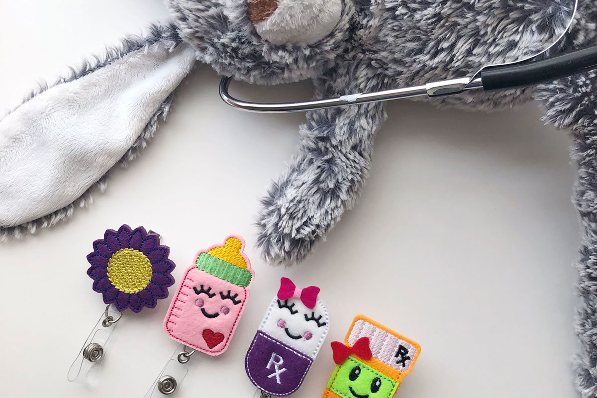 Nurse Badge Reel with Bunny